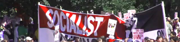 "Socialist protesters and paraphernalia dominated today's left-wing protest rally in Washington, DC. The so-called ""One Nation"" rally was led by labor unions as an attempt to counter Glenn Beck's Restoring Honor Rally, which took place in DC on 8-28-2010."