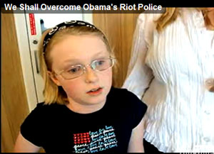 10 year-old Amy and her mother spoke with me yesterday after the tea party rally in Quincy, Illinois. The poor child was saddened and confused after the Obama SWAT Team came marching into the rally. Her mother is near tears as she recalls the event.