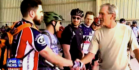 President Bush proves again he is will and able to honor our Wounded Warriors in a one-on-one bike ride in the heat of South Texas.
