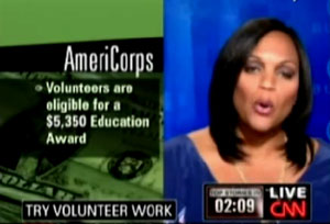 Burdened under a mountain of student debt? CNN has the answer - dedicate ten or so of your prime years to social work. Better yet, join the AmeriCorps.