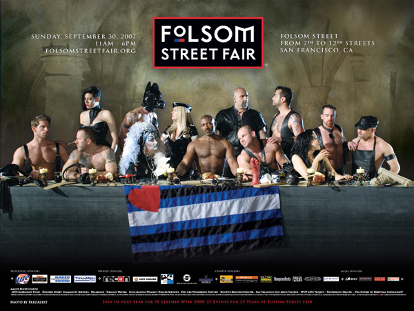 The ad is promoting the Folsom Street Fair in San Francisco -- essentially a multi-city block party for homosexuals. It shows a group of men and women scantily clad, at a long table, laden with sex toys and sado-masochistic implements.