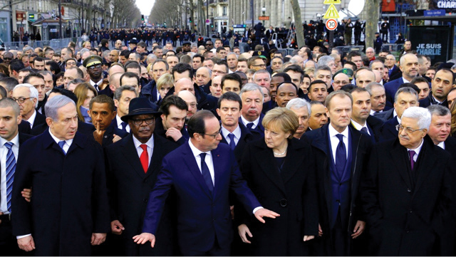Photo of Paris unity march of January 2015 over murders by Muslim terrorists of French newspaper journalists that published cartoons of Muslim religious figures, 12 of them shot and murdered in front of their employees. All the major European leaders, along with Israeli Prime Minister, were in attendance at the protest march with President Obama refusing to acknowledge the event by not attending.  - Webmaster