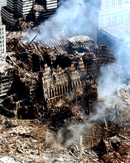 Click on the photo to see an 800 pixel enlargement of the towers on September 12, 2001, knowing 3,700 people had just lost their lives to hatred by Muslim terrorists, the same terrorists our Department of Homeland Security tries to catch every single day at all American airports.  Peac and healing?  Then what's TSA for?