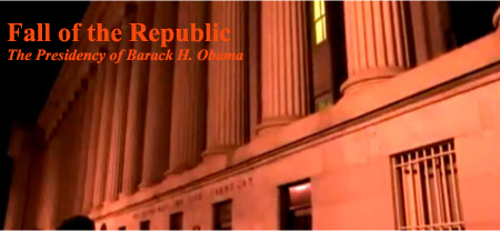 Fall Of The Republic documents how an offshore corporate cartel is bankrupting the US economy by design. Leaders are now declaring that world government has arrived and that the dollar will be replaced by a new global currency.  President Obama has brazenly violated Article 1 Section 9 of the US Constitution by seating himself at the head of United Nations' Security Council, thus becoming the first US president to chair the world body. A scientific dictatorship is in its final stages of completion, and laws protecting basic human rights are being abolished worldwide; an iron curtain of high-tech tyranny is now descending over the planet.