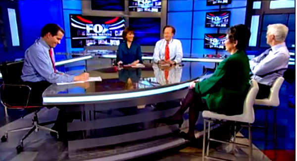 FOX's so-called fair and balanced guests attack Palin during off-air commercial break as host looks on, smiling.
