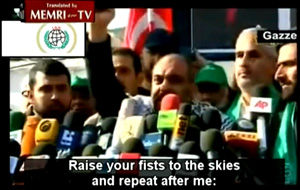 Bülent Yildirim, the main organizer of the Gaza Flotilla, spoke at a Hamas rally held in Gaza in February 2009. The rally was organized in support of Turkish Prime Minister Recep Tayyip Erdoğan, who stormed out of a debate on the Gaza war in Davos. The speech appeared on the Internet. Remember, Yildirim is the main organizer of the Gaza Flotilla and his organization is linked to Islamic terror groups.