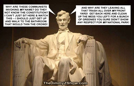 Don't believe Old Abe?  Click on the photo to watch Marxist Obama-supported rally in Washington D.C. on October 2, 2010.  Even the kids got involved in pushing the socialist message.