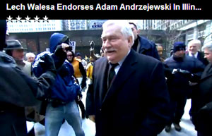 Lech Walewsa, Noble Peace Prize winner and former Polish freedom fighter against Russian aggression, endorses Polish candidate while in Chicago.