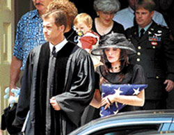 Funeral for Sergeant Christopher Speer, who never came home again to his famly, wife Tabitha, and his two small children, Taryn and Tanner.