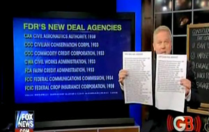 Glenn Beck reviews FDR's agencies created under the New Deal and then lists the agencies created under Obama. He preludes this by referring to how FDR and Obama both talked about how they were for the small business owner, when in fact, they actually only cared/care about big business and big government.
