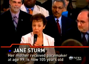 The entire exchange that took place between the President and Jane Sturm regarding her older mother.