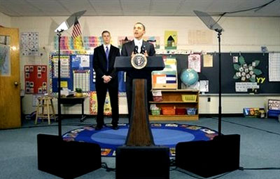 President Barack Obama, accompanied by Education Secretary Arne Duncan, speaks to the media after a discussion with 6th grade students at Graham Road Elementary School in Falls Church, Va., Tuesday, Jan. 19, 2010.