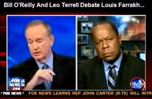 "Bill O'Reilly and civil rights attorney Leo Terrell debate Louis Farrakhan's ""White Right"" speech. During his speech, Farrakhan said, ""The white right is trying to set Barack up to be assassinated."" He also said, ""There are Christians praying for God to kill Barack Obama."""