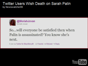 Progressive Twitter members follow New York Time's lead and wish Sarah Palin harm.