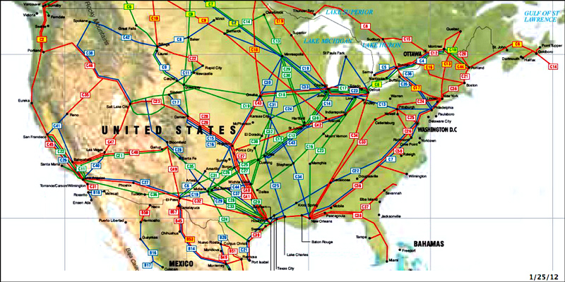 United States Pipelines map - Crude Oil (petroleum) pipelines - Natural Gas pipelines - Products pipelines.